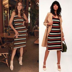 Grand Opportunity Multi Striped Bodycon Midi Dress